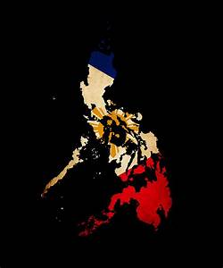 Philippines Outline Map With Grunge Flag Photograph by