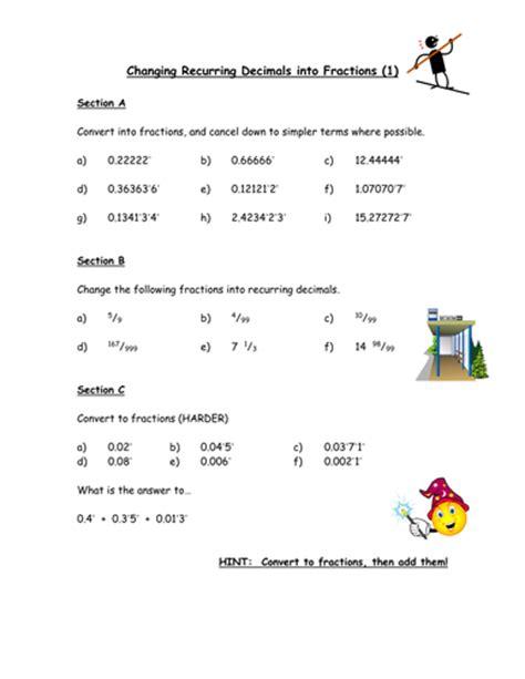 recurring decimals to fractions worksheet gcse