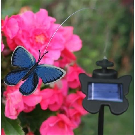 solar powered flutterby butterfly blue the garden factory