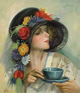 Lady in hat having tea | vintage | Pinterest