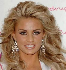 Katie Price's blonde hairstyle with chunky light brown ...