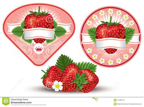 strawberry label stock  image
