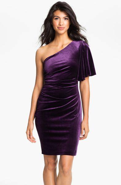 One Shoulder Drape Sleeve Dress - calvin klein one shoulder draped sleeve velvet dress in