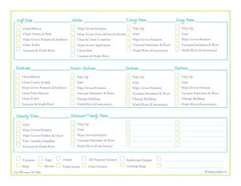 Printable Room Cleaning Checklist