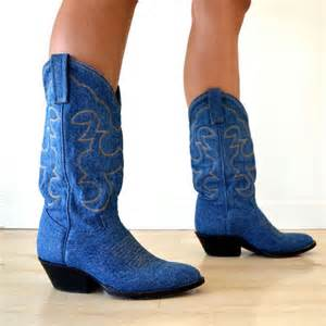 womens boots etsy vintage blue denim mid calf cowboy boots womens size 7
