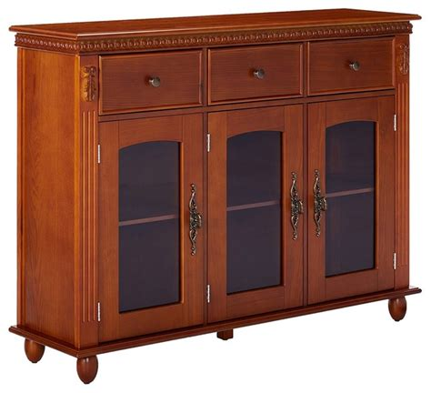 Glass Front Buffet Sideboard by Shona Wood Buffet Table With Glass Doors Walnut