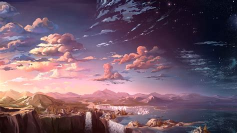 anime landscape waterfall cloud  hd anime