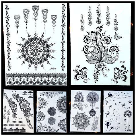 goldocean yantra mandala black temporary tattoo henna
