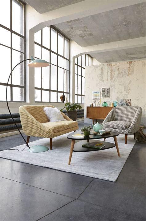 table basse inspiration scandinave style retro mur beton