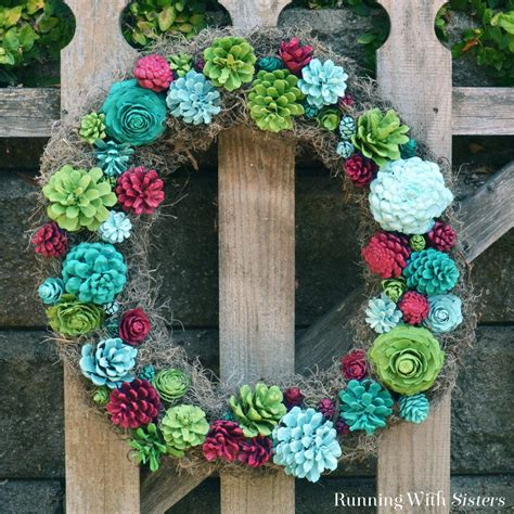 faux succulent wreath running  sisters