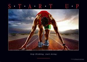motivationsposter sport für start up stop thinking