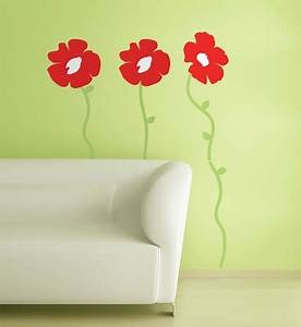 red poppies flowers wall stickers colorful poppy flowers With beautiful poppy wall decals