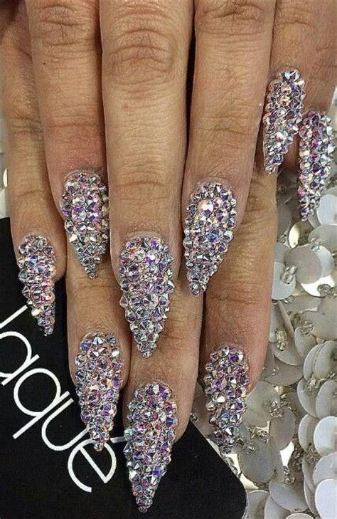 rhinestone nails  valentines