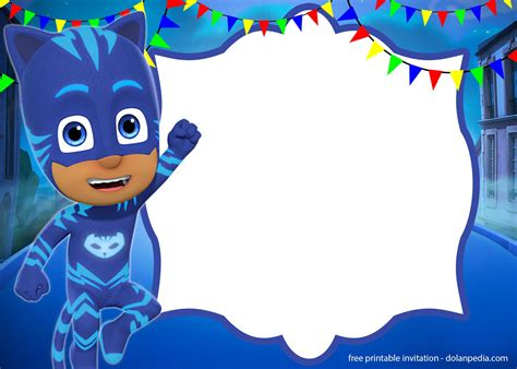 pj masks invitation templates editable