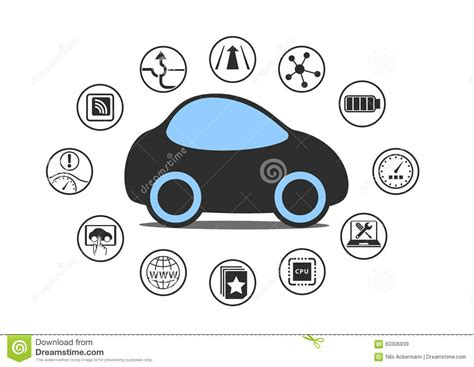 Self Driving Car And Autonomous Vehicle Concept. Icon Of