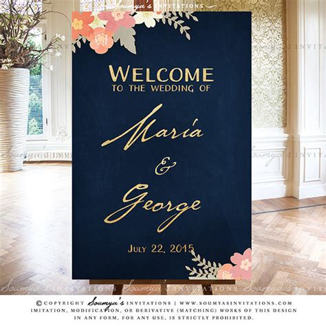 navy blue  gold blush pink coral peach wedding signs rustic floral wedding reception signs