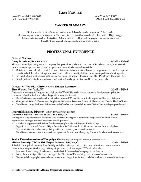 executive personal assistant resume sle gallery