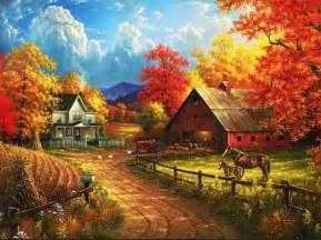 Country Fall Farm Scenes Paintings