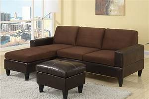 Small chocolate microfiber faux leather sectional sofa for Chocolate sectional sofa with ottoman