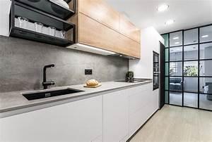 Cocina, Moderna, En, Color, Blanco, Y, Roble, Con, Muebles, De
