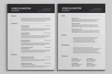 Free Resume Templates For Pages by Two Pages Classic Resume Cv Template By Snipescientist On