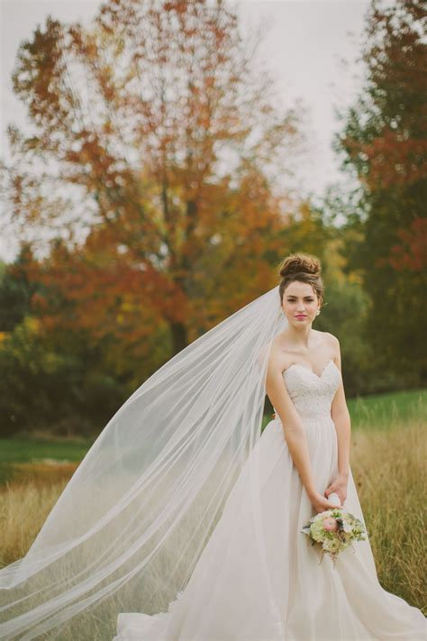 Fall Inspired Bridal Bride Wearing A Cathedral Veil High