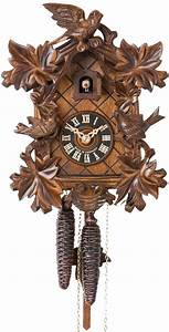Hones, Carved, Style, One, Day, Cuckoo, Clock, With, Six, Maple, Leaves, Three, Birds, U0026, Nest