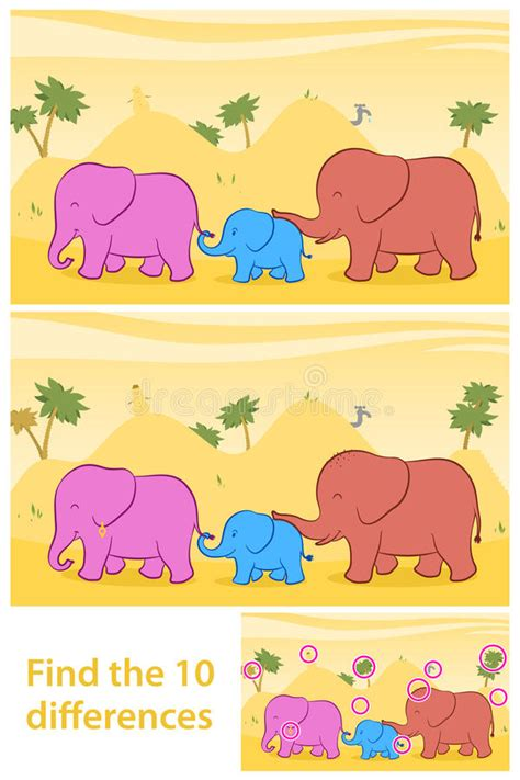 find the ten differences between two illustrations stock 784 | find ten differences two illustrations printable game preschool children to cute family elephants 46971378