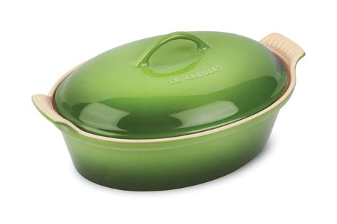 le creuset stoneware heritage covered oval casserole  quart palm cutlery