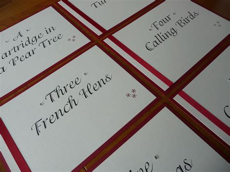 wedding table names based on the 12 days of christmas www