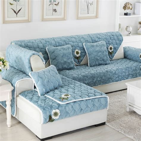 diy floral plush sofa cover thick anti slip couch covers