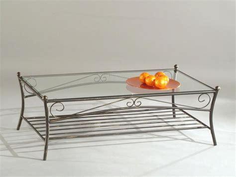 accessoire de rangement cuisine table basse l110xp60xh38cm reva en fer forgé verre 110x60cm