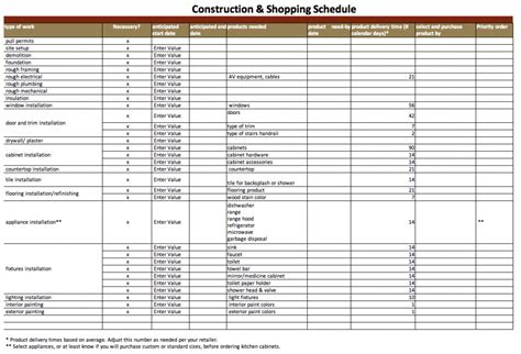 schedules template in excel construction schedule template excel free download