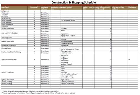 kitchen planner free construction schedule template excel free