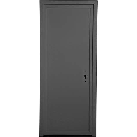 porte de service gris anthracite pvc plein h 200 x l 90 cm poussant droit leroy merlin