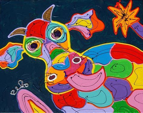 bloemen 3d dikke verf you tube koe vrolijk kleurrijk modern schilderij