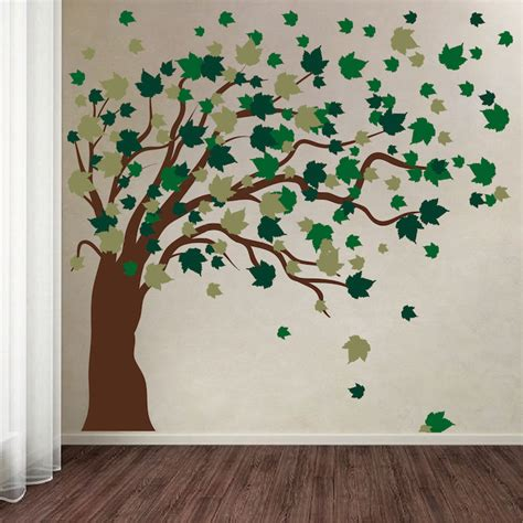 large blowing tree wall decal trendy wall designs