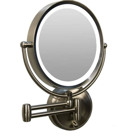 wall mounted lighted makeup mirror rubbed bronze