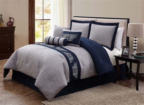 gray cotton with dark blue pattern comforter set with double brown fabric queen headboard seats