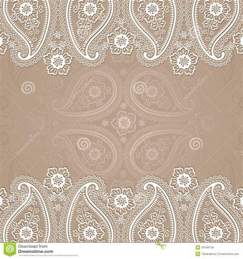 Paisley Border Lace Design Template Stock Vector