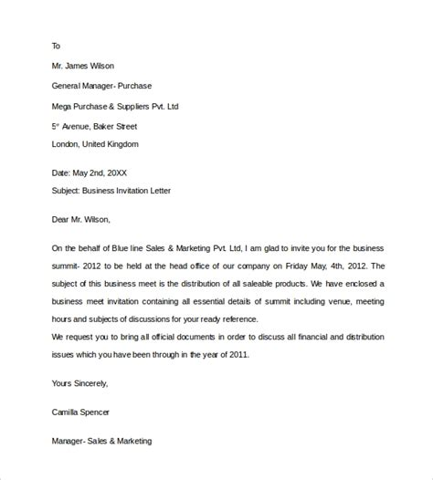 business invitation letter templates  word