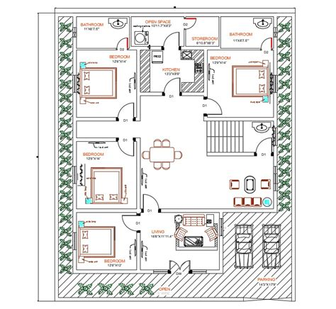 bedroom house autocad ground floor plan design cadbull