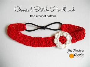 My Hobby Is Crochet  Crossed Stitch Headband With Flower