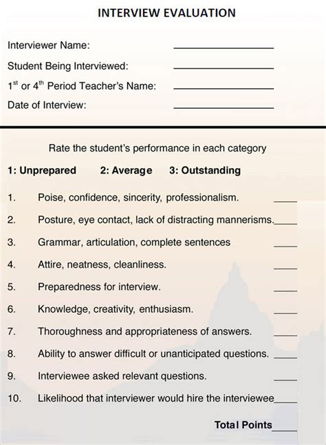 sample interview evaluation form templates