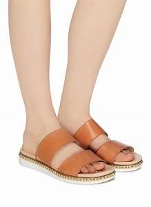 Lane Size Chart Sam Edelman 39 Asha 39 Stud Leather Slide Sandals In Brown Lyst
