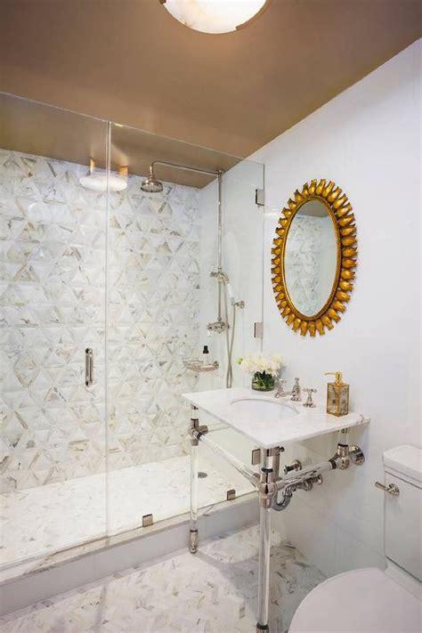 black washstand  gold sunburst mirror transitional