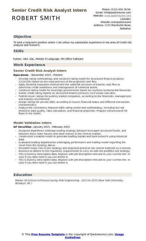 Senior Credit Analyst Resume by Credit Risk Analyst Resume Sles Qwikresume