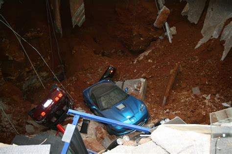corvette museum sinkhole dirt cars damaged in corvette museum sinkhole to be displayed