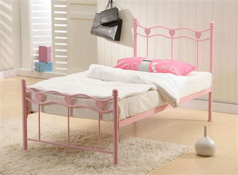 Single Pink Metal Bed Frame 3ft Children Girls Princess