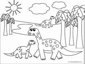 Simple Dinosaur Coloring Page Getcoloringpagescom